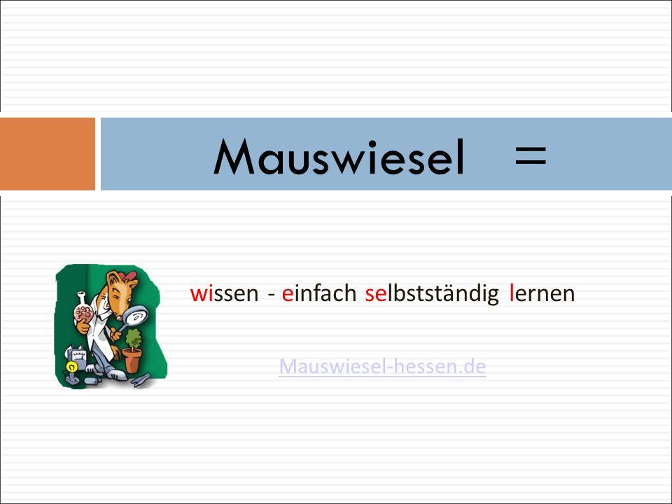 Mauswiesel ist eine Plattform auf dem Hessischen Bildungsserver, auf der Schülerinnen und Schüler der Grund- und Förderschulen zu frei gewählten oder vorgegebenen Themen arbeiten und lernen können.