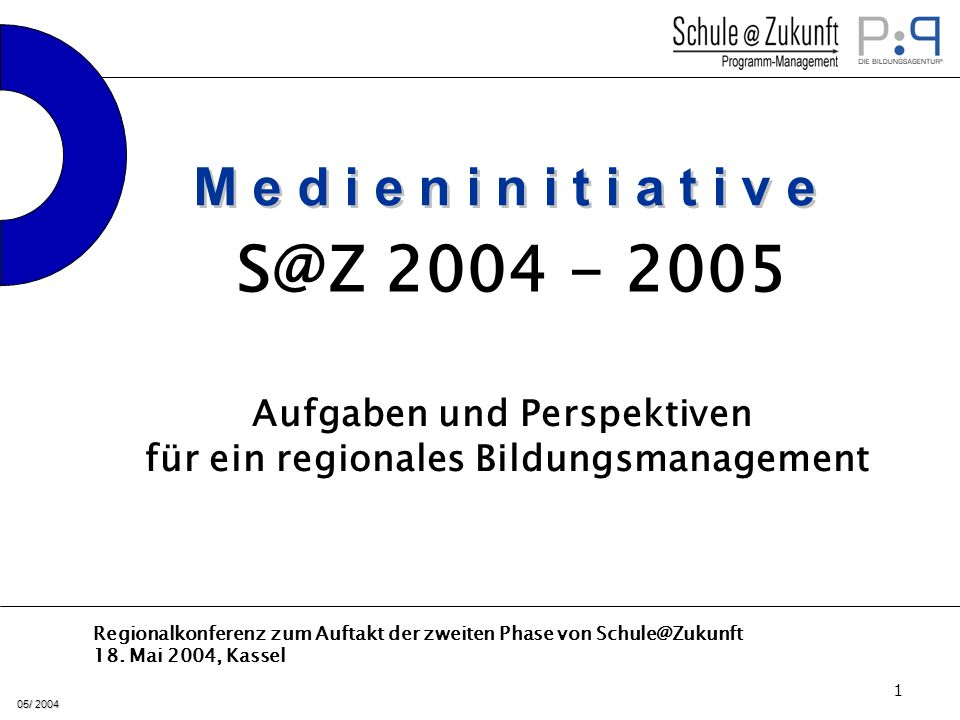 05/ 2004 12 2004 Durchführung der 8 Regionalkonferenzen für Schulträger, SSA, Studienseminare Information über die weitere strategische Zielsetzung Information über die Maßnahmen der Lehrbildung Start bzw.
