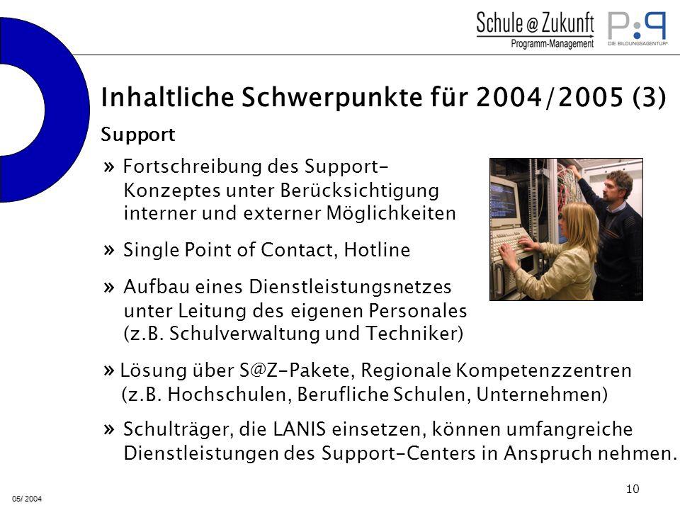 05/ 2004 10 » Fortschreibung des Support- Konzeptes unter Berücksichtigung interner und externer Möglichkeiten » Aufbau eines Dienstleistungsnetzes unter Leitung des eigenen Personales (z.B.