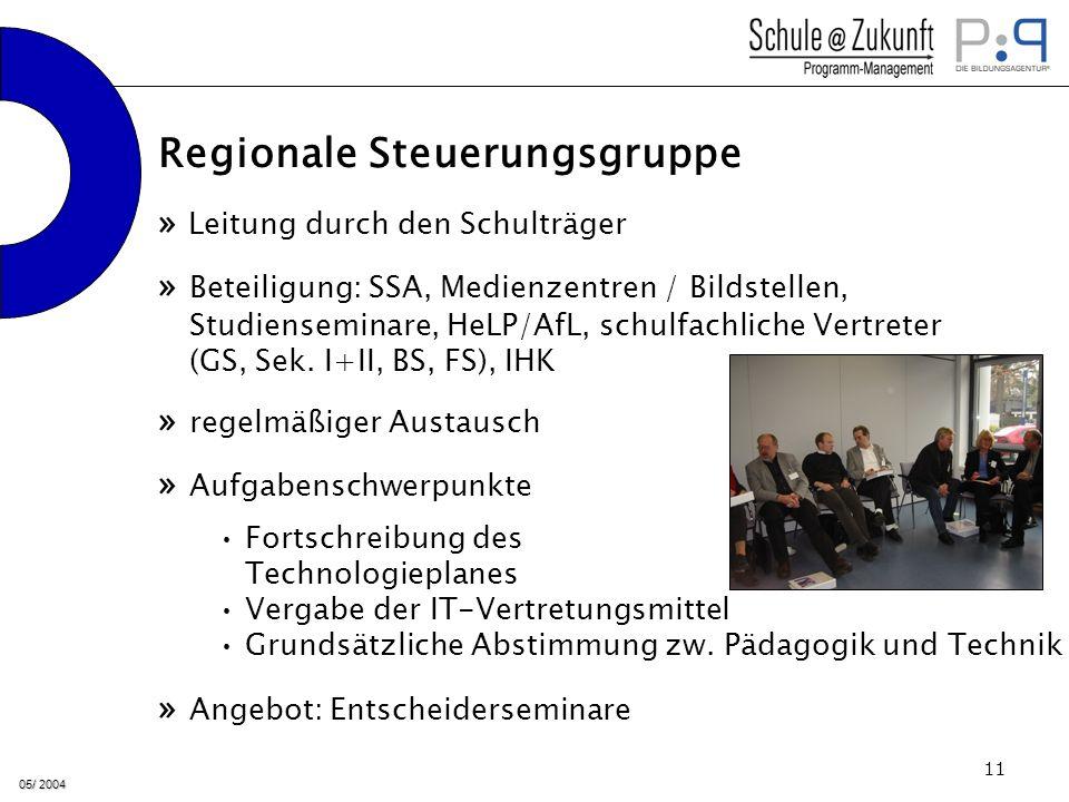 05/ 2004 11 » Leitung durch den Schulträger » regelmäßiger Austausch » Beteiligung: SSA, Medienzentren / Bildstellen, Studienseminare, HeLP/AfL, schulfachliche Vertreter (GS, Sek.