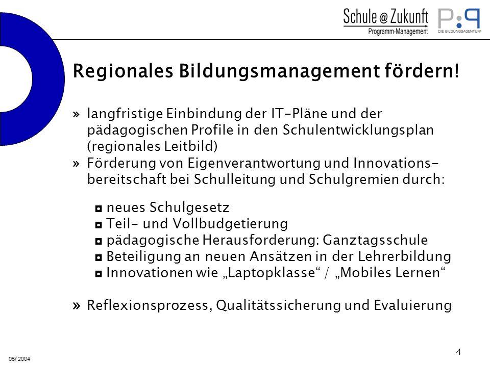 05/ 2004 5 » Schulträger und Land bilden finanziellen Grundansatz von 10 Mio.