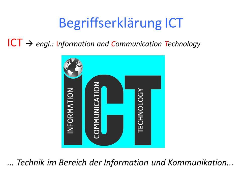 Begriffserklärung ICT ICT engl.: Information and Communication Technology... Technik im Bereich der Information und Kommunikation...