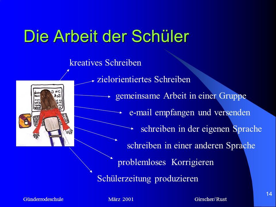 Günderrodeschule März 2001 Girscher/ Rust 13 Die Arbeit der Schüler