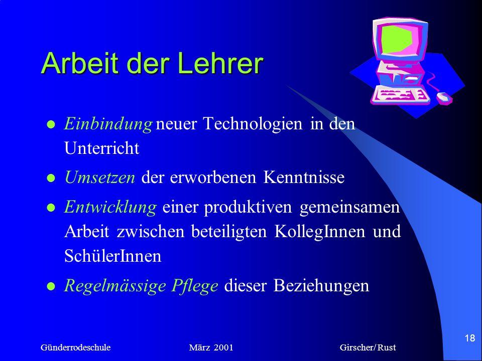 Günderrodeschule März 2001 Girscher/ Rust 17 Was die Lehrer gelernt haben Beschäftigung mit der Technik Erwerb von Kenntnissen in Hard-und Software Se