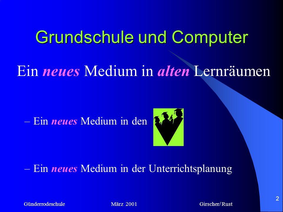 Günderrodeschule März 2001 Girscher/ Rust 1 Grundschule und Computer Erfahrungen in einer Grundschule in Frankfurt Karin Girscher / Maria Rust