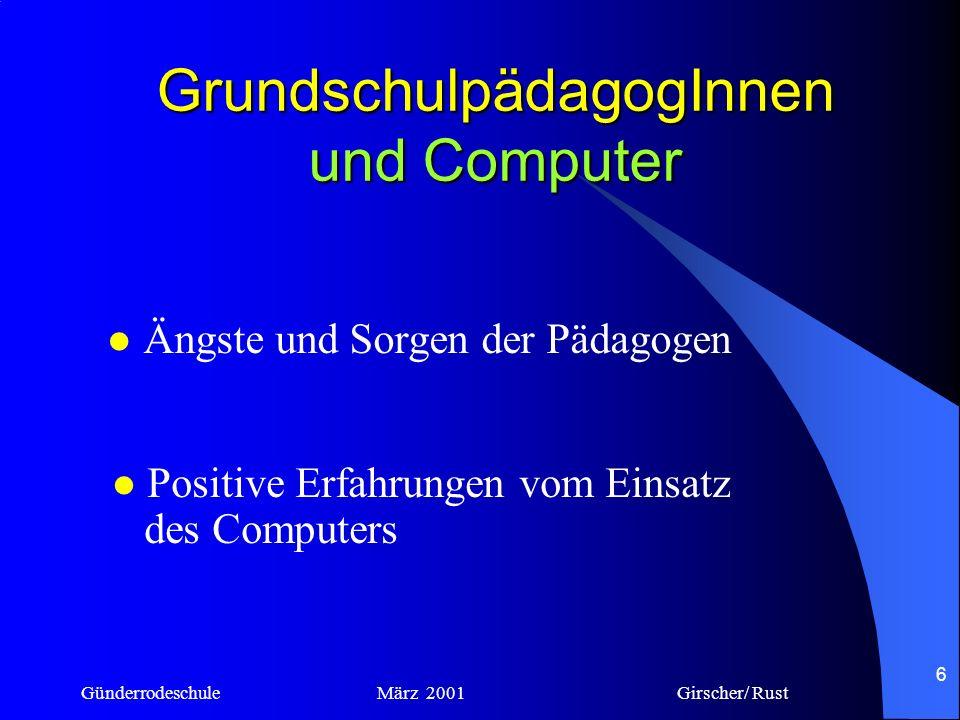 Günderrodeschule März 2001 Girscher/ Rust 5 Grundschule und Computer –Können sich GrundschulpädagogInnen auf die neue Technik einlassen ? –Sollen sich