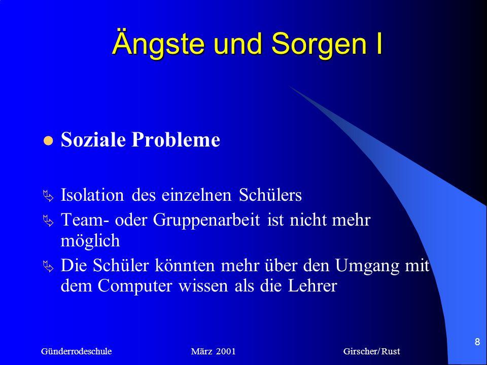 Günderrodeschule März 2001 Girscher/ Rust 7 Ängste und Sorgen
