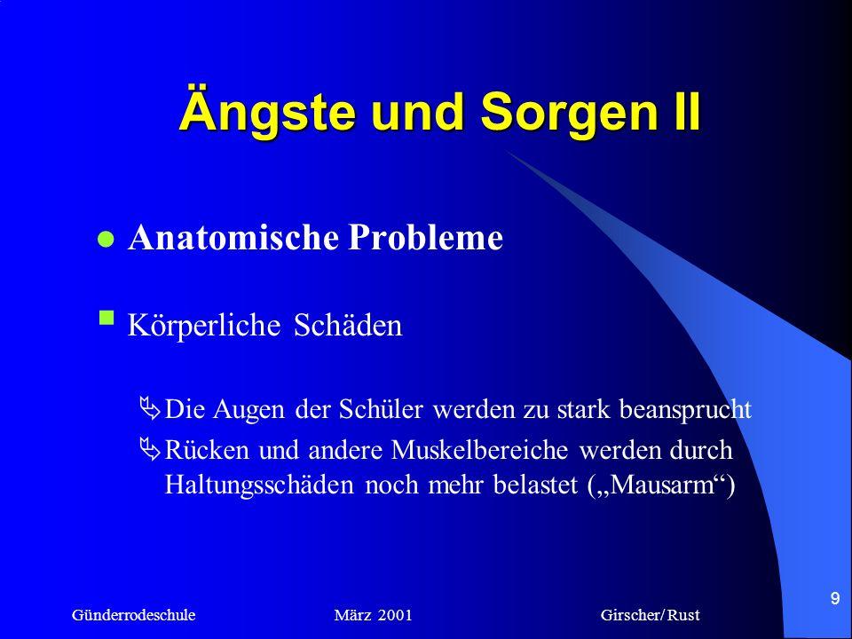 Günderrodeschule März 2001 Girscher/ Rust 8 Ängste und Sorgen I Soziale Probleme Isolation des einzelnen Schülers Team- oder Gruppenarbeit ist nicht m