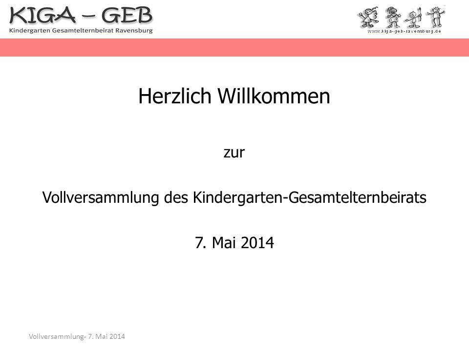 Herzlich Willkommen zur Vollversammlung des Kindergarten-Gesamtelternbeirats 7. Mai 2014 Vollversammlung- 7. Mai 2014