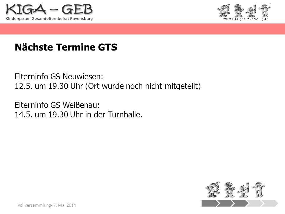 Vollversammlung- 7. Mai 2014 Nächste Termine GTS Elterninfo GS Neuwiesen: 12.5. um 19.30 Uhr (Ort wurde noch nicht mitgeteilt) Elterninfo GS Weißenau: