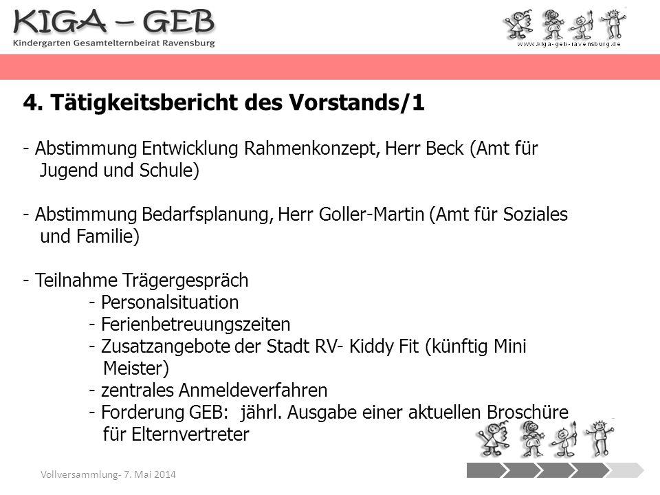 Vollversammlung- 7. Mai 2014 4. Tätigkeitsbericht des Vorstands/1 - Abstimmung Entwicklung Rahmenkonzept, Herr Beck (Amt für Jugend und Schule) - Abst