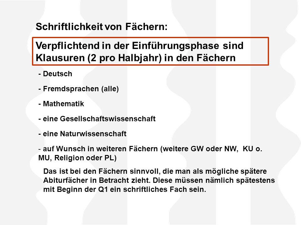 Schriftlichkeit von Fächern: - Deutsch - Fremdsprachen (alle) - Mathematik - eine Gesellschaftswissenschaft - eine Naturwissenschaft - auf Wunsch in weiteren Fächern (weitere GW oder NW, KU o.