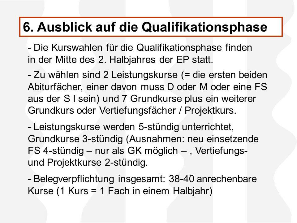 6. Ausblick auf die Qualifikationsphase - Die Kurswahlen für die Qualifikationsphase finden in der Mitte des 2. Halbjahres der EP statt. - Zu wählen s
