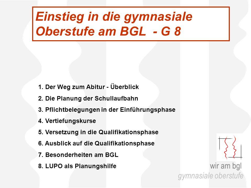 Einstieg in die gymnasiale Oberstufe am BGL - G 8 1.