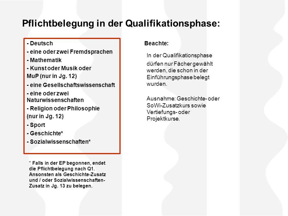 Pflichtbelegung in der Qualifikationsphase: - Deutsch - eine oder zwei Fremdsprachen - Mathematik - Kunst oder Musik oder MuP (nur in Jg.