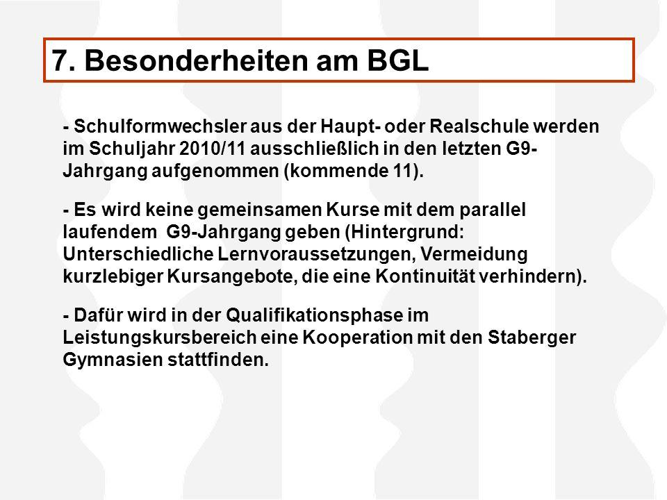 7. Besonderheiten am BGL - Schulformwechsler aus der Haupt- oder Realschule werden im Schuljahr 2010/11 ausschließlich in den letzten G9- Jahrgang auf