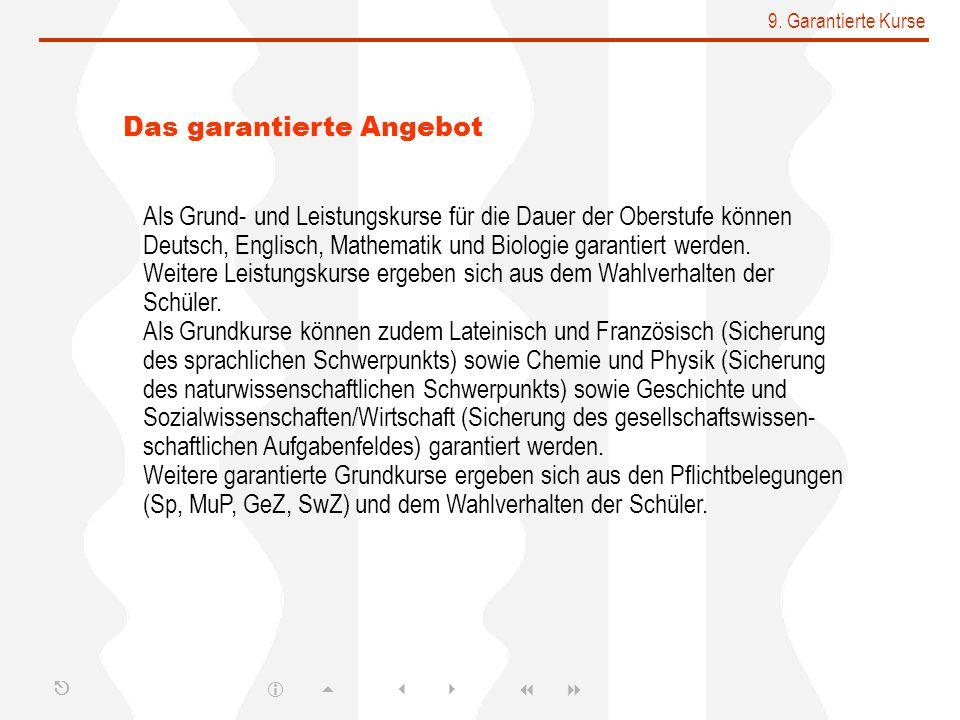 9. Garantierte Kurse Das garantierte Angebot Als Grund- und Leistungskurse für die Dauer der Oberstufe können Deutsch, Englisch, Mathematik und Biolog