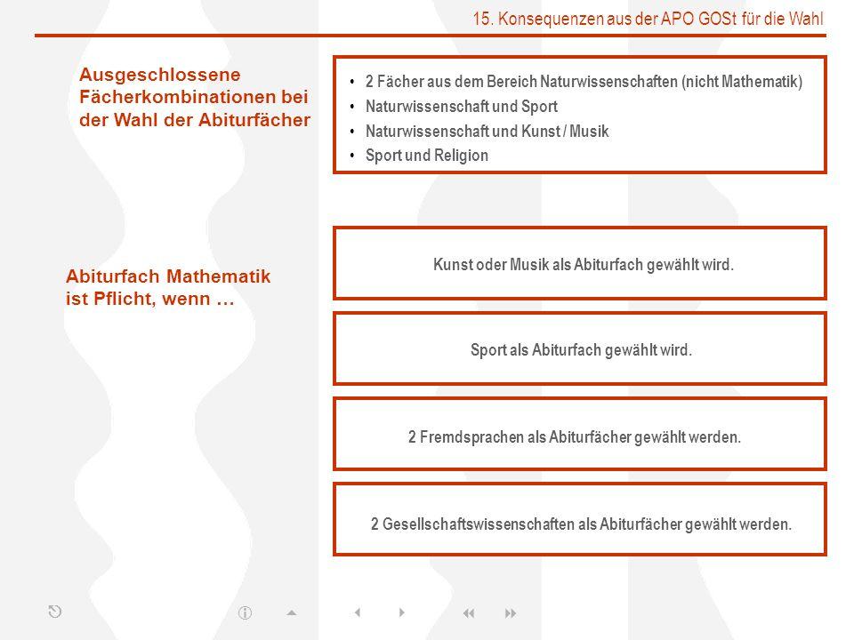 15. Konsequenzen aus der APO GOSt für die Wahl 2 Fächer aus dem Bereich Naturwissenschaften (nicht Mathematik) Naturwissenschaft und Sport Naturwissen