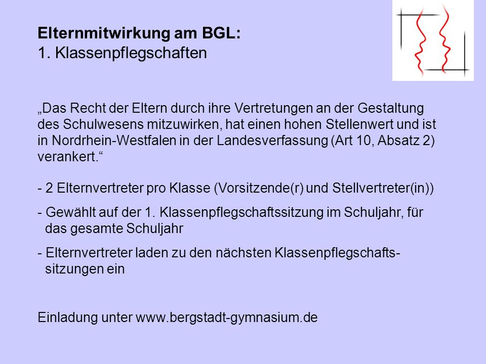 Das Recht der Eltern durch ihre Vertretungen an der Gestaltung des Schulwesens mitzuwirken, hat einen hohen Stellenwert und ist in Nordrhein-Westfalen