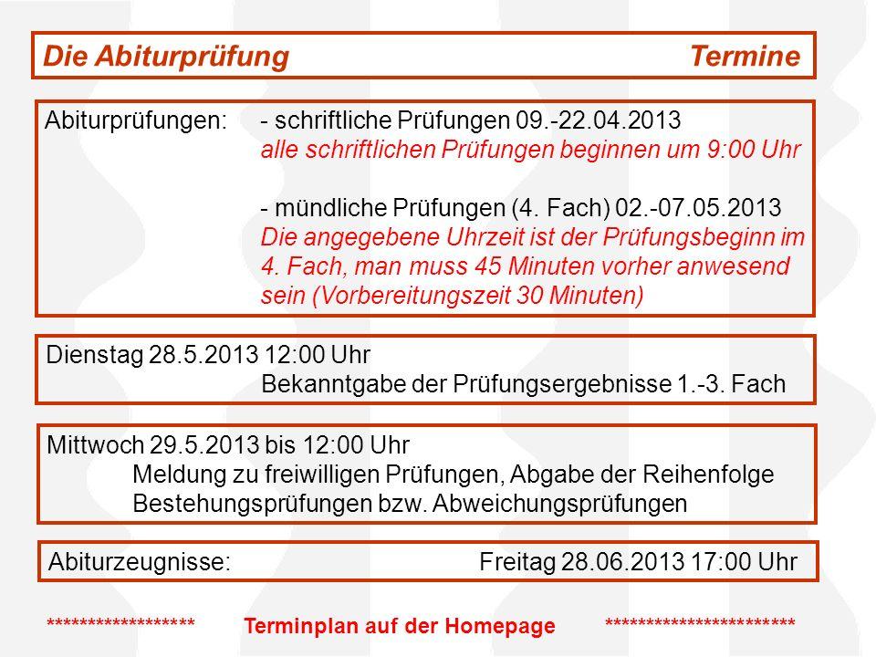 Die AbiturprüfungTermine Abiturprüfungen:- schriftliche Prüfungen 09.-22.04.2013 alle schriftlichen Prüfungen beginnen um 9:00 Uhr - mündliche Prüfung