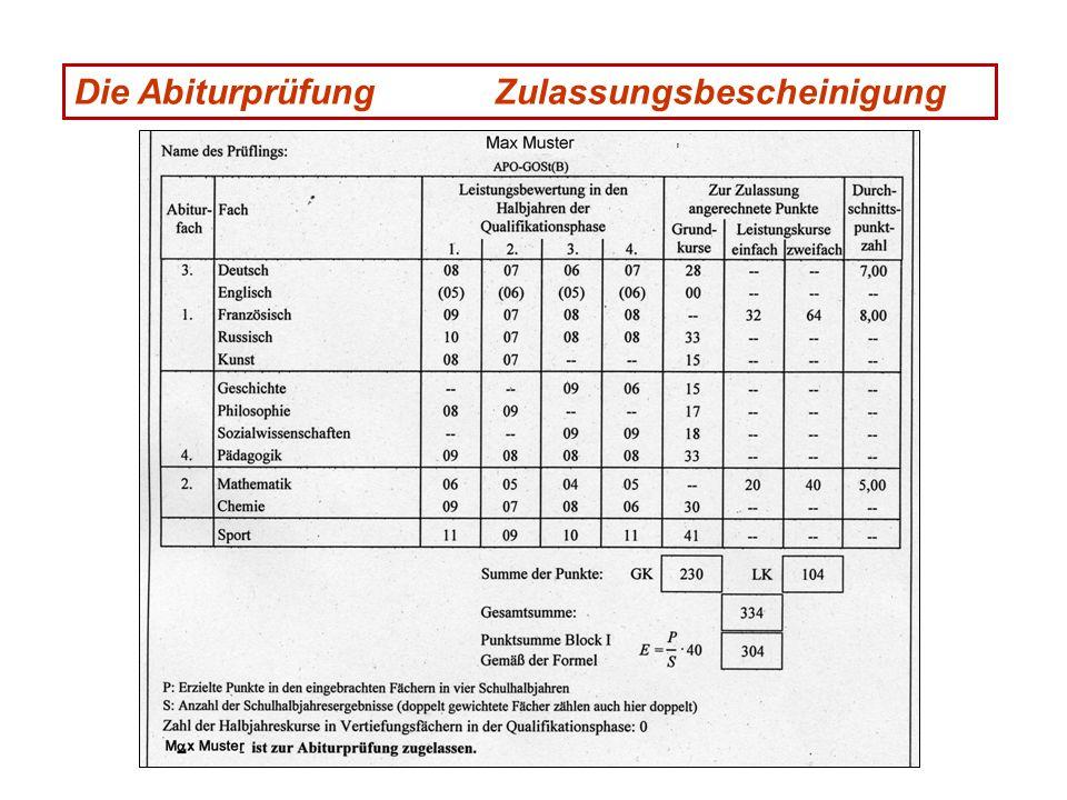 Die Abiturprüfung Zulassungsbescheinigung