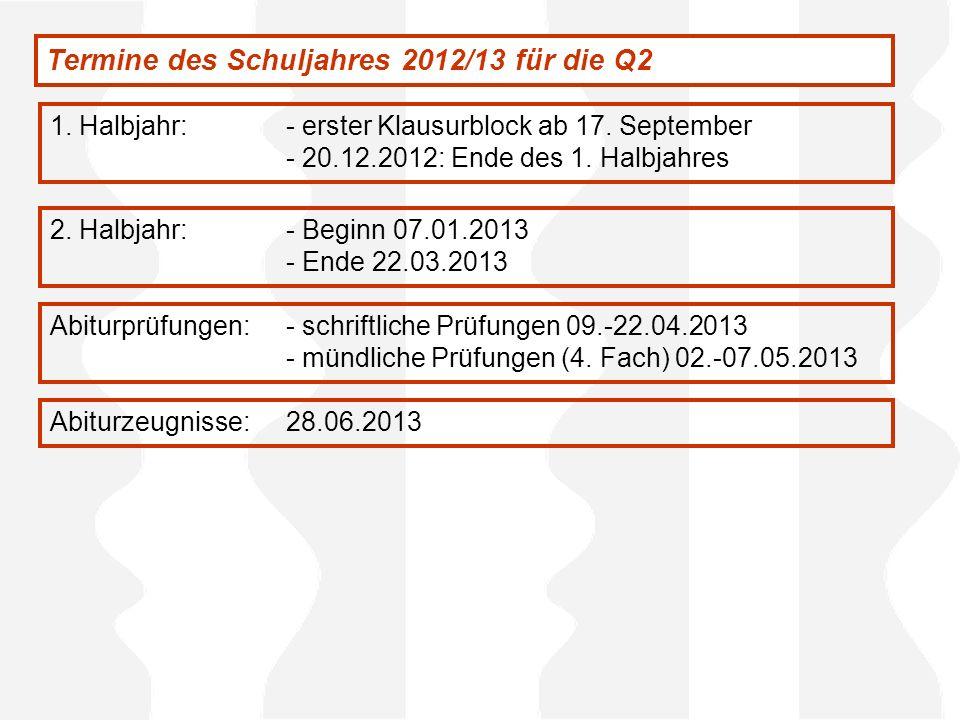Termine des Schuljahres 2012/13 für die Q2 1. Halbjahr:- erster Klausurblock ab 17. September - 20.12.2012: Ende des 1. Halbjahres 2. Halbjahr:- Begin