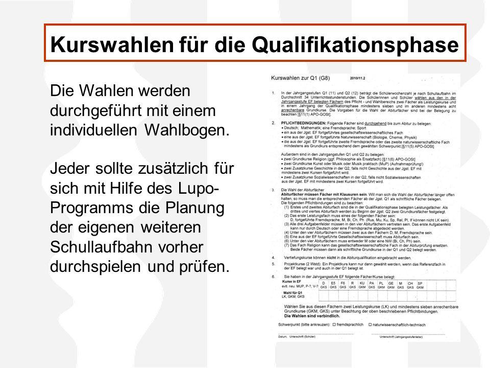 In der Qualifikationsphase können nur Fächer belegt werden, die bereits in der Einführungsphase (Jahrgang 10) durchgehend belegt wurden.