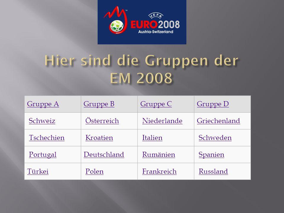 Gruppe AGruppe BGruppe CGruppe D Schweiz Österreich Niederlande Griechenland Tschechien Kroatien Italien Schweden Portugal Deutschland Rumänien Spanien Türkei Polen Frankreich Russland