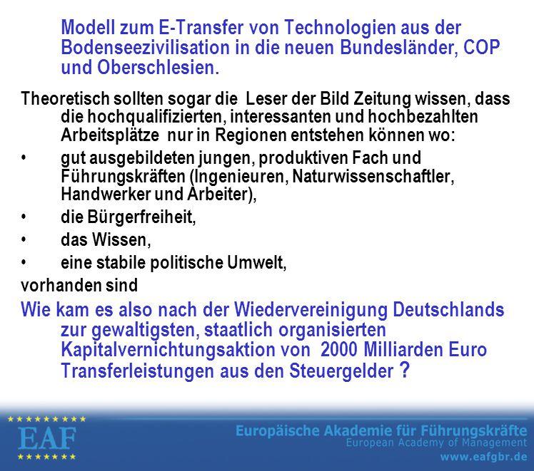 Modell zum E-Transfer von Technologien aus der Bodenseezivilisation in die neuen Bundesländer, COP und Oberschlesien.