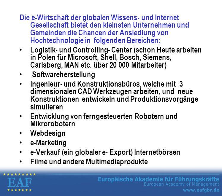 Die e-Wirtschaft der globalen Wissens- und Internet Gesellschaft bietet den kleinsten Unternehmen und Gemeinden die Chancen der Ansiedlung von Hochtechnologie in folgenden Bereichen: Logistik- und Controlling- Center (schon Heute arbeiten in Polen für Microsoft, Shell, Bosch, Siemens, Carlsberg, MAN etc.