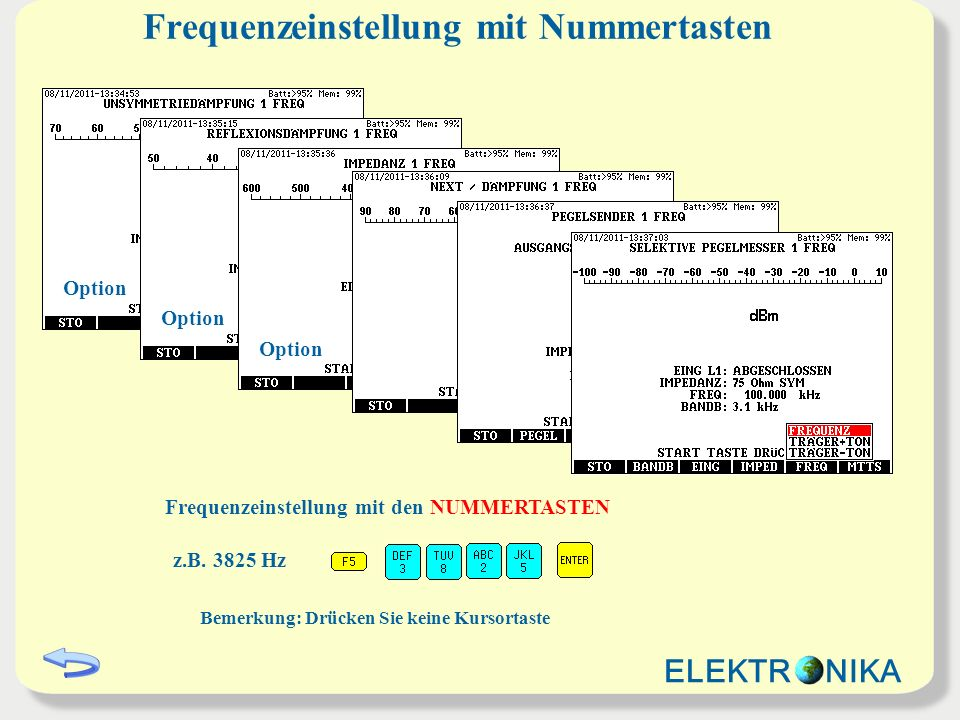 Modifizierung der Frequenz mit Kursor Der gewünschte STELLENWERT wird mit den HORIZONTALEN Kursor ausgewählt Der FREQUENZWERT wird schrittweise mit den VERTIKALEN Kursor geändert FREQU: 100.000 kHz FREQU: 100.100 kHz FREQU: 100.200 kHz Bemerkung: Drücken Sie kein eNummertaste Modifizierung der Frequenz in Schritten 1Hz, 10 Hz 100Hz usw.