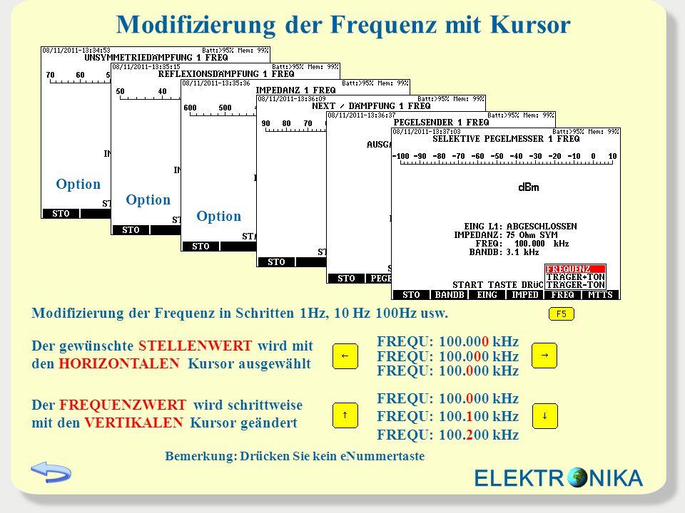 Modifizierung der Frequenz mit Kursor Der gewünschte STELLENWERT wird mit den HORIZONTALEN Kursor ausgewählt Der FREQUENZWERT wird schrittweise mit de