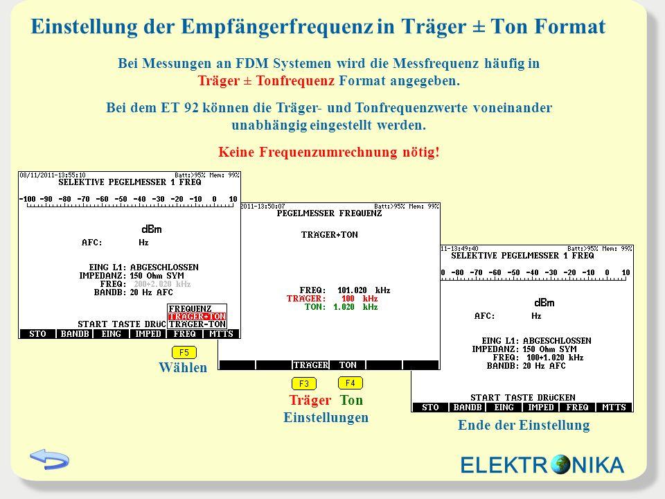 Einstellung der Empfängerfrequenz in Träger ± Ton Format TrägerTon Wählen Bei Messungen an FDM Systemen wird die Messfrequenz häufig in Träger ± Tonfr