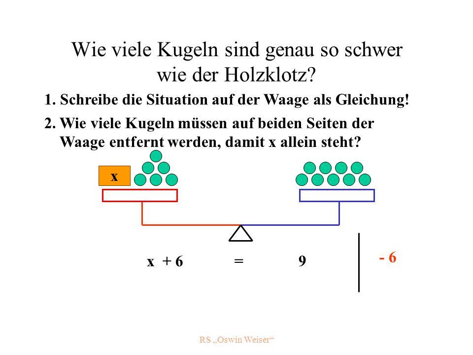RS Oswin Weiser Wie viele Kugeln sind genau so schwer wie der Holzklotz? x x + 6 = 9 - 6 1. Schreibe die Situation auf der Waage als Gleichung! 2. Wie