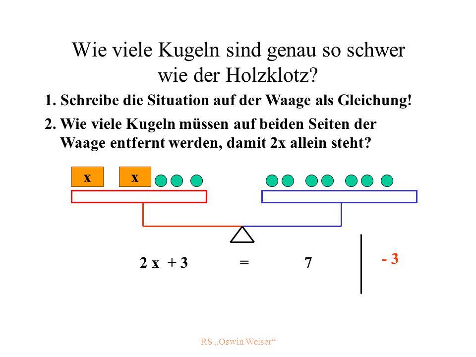 RS Oswin Weiser Wie viele Kugeln sind genau so schwer wie der Holzklotz? x 2 x + 3 = 7 - 3 1. Schreibe die Situation auf der Waage als Gleichung! 2. W
