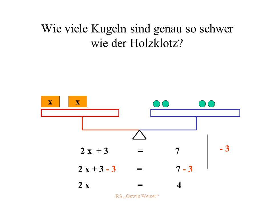 RS Oswin Weiser Wie viele Kugeln sind genau so schwer wie der Holzklotz? x 2 x + 3 = 7 - 3 x 2 x + 3 - 3 = 7 - 3 2 x = 4