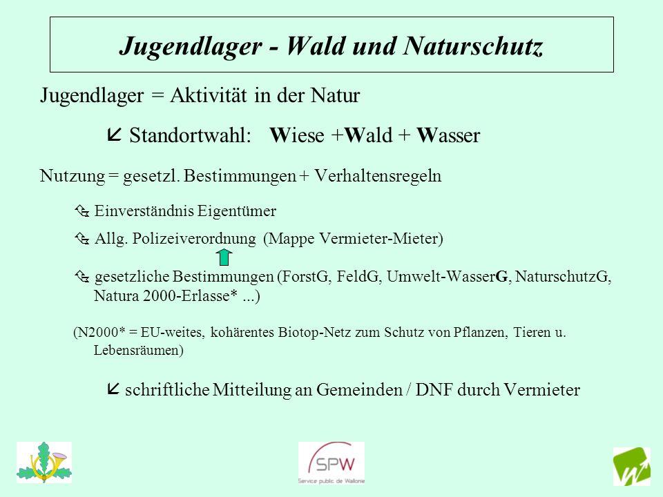 Jugendlager - Wald und Naturschutz Jugendlager = Aktivität in der Natur Standortwahl: Wiese +Wald + Wasser Nutzung = gesetzl. Bestimmungen + Verhalten