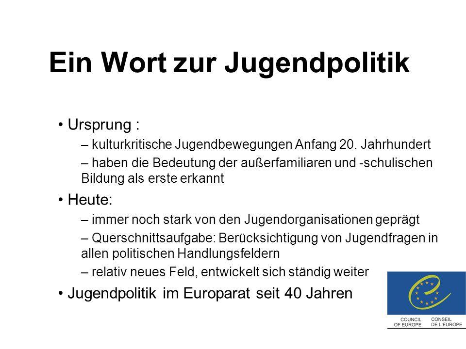 Ein Wort zur Jugendpolitik Ursprung : – kulturkritische Jugendbewegungen Anfang 20.