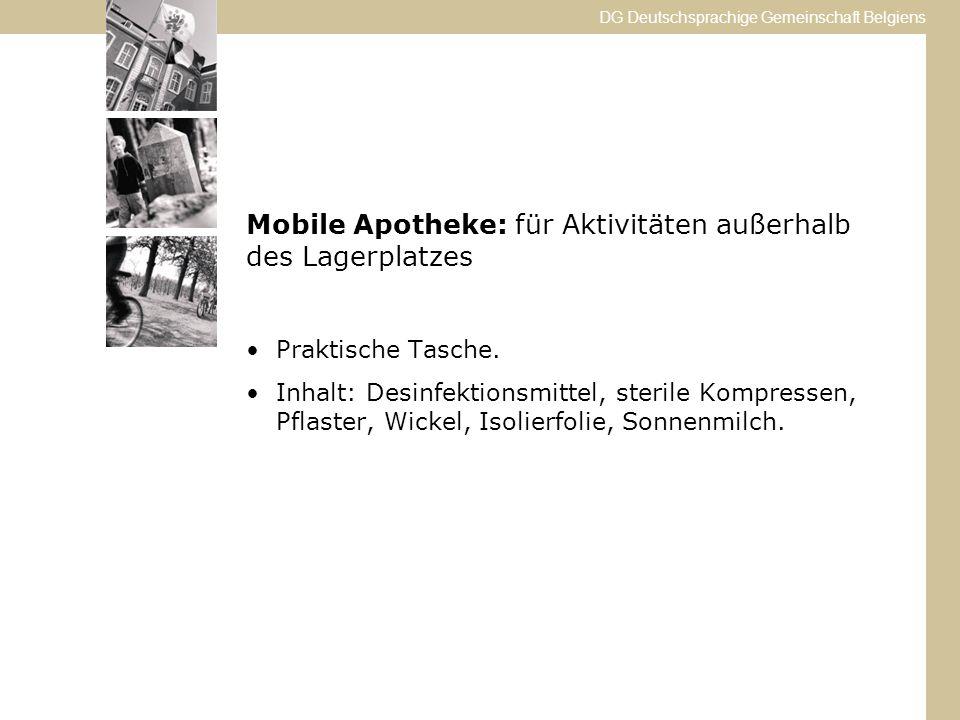 DG Deutschsprachige Gemeinschaft Belgiens Mobile Apotheke: für Aktivitäten außerhalb des Lagerplatzes Praktische Tasche.