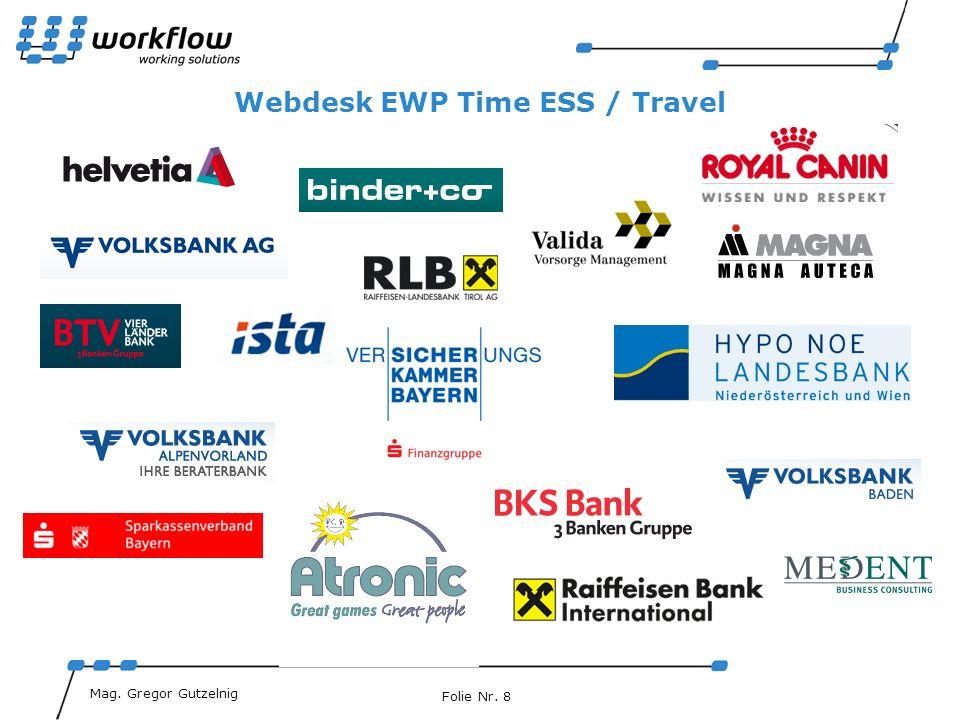 Folie Nr. 8 MiMag. Gabriel Gruber Mag. Gregor Gutzelnig Webdesk EWP Time ESS / Travel