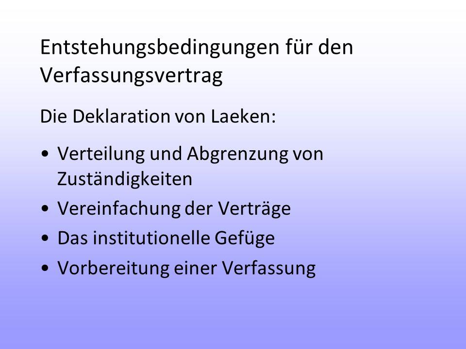 Entstehungsbedingungen für den Verfassungsvertrag Die Deklaration von Laeken: Verteilung und Abgrenzung von Zuständigkeiten Vereinfachung der Verträge Das institutionelle Gefüge Vorbereitung einer Verfassung