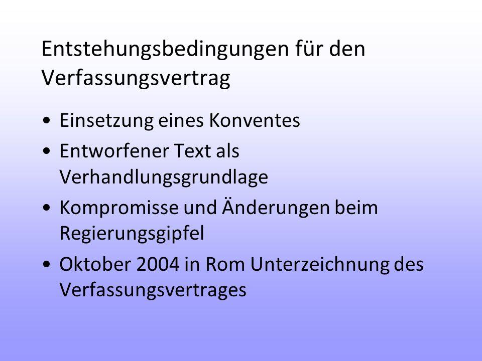 Entstehungsbedingungen für den Verfassungsvertrag Einsetzung eines Konventes Entworfener Text als Verhandlungsgrundlage Kompromisse und Änderungen beim Regierungsgipfel Oktober 2004 in Rom Unterzeichnung des Verfassungsvertrages