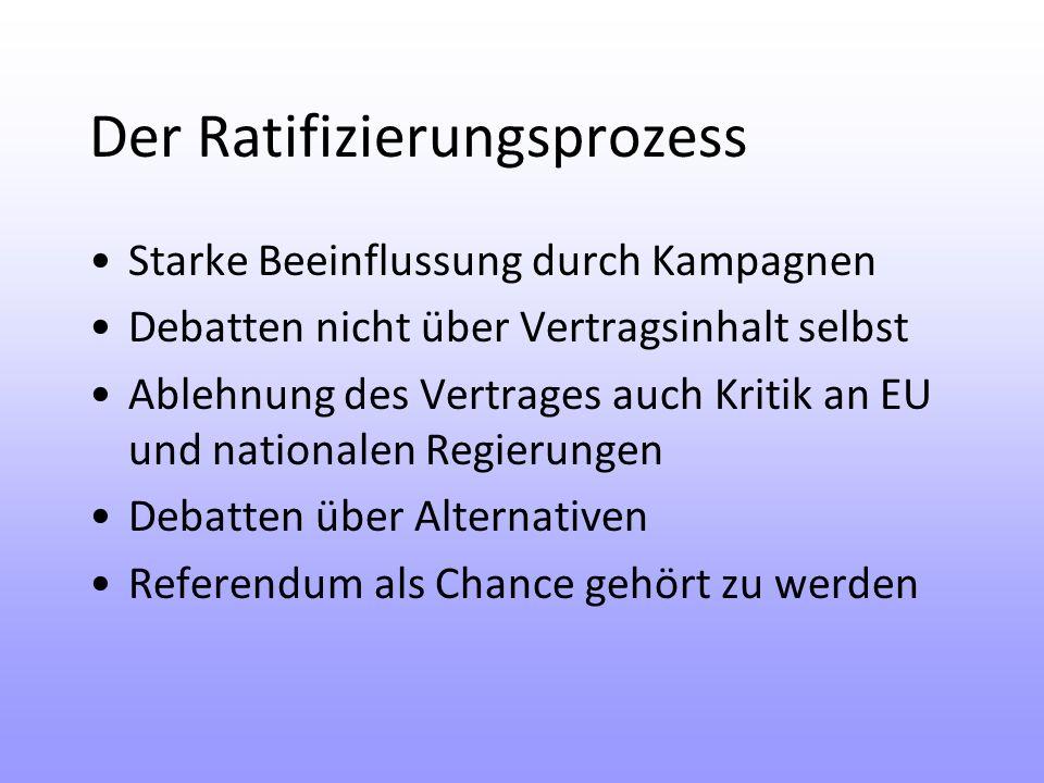 Der Ratifizierungsprozess Starke Beeinflussung durch Kampagnen Debatten nicht über Vertragsinhalt selbst Ablehnung des Vertrages auch Kritik an EU und nationalen Regierungen Debatten über Alternativen Referendum als Chance gehört zu werden