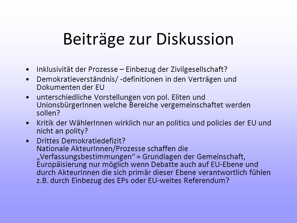 Beiträge zur Diskussion Inklusivität der Prozesse – Einbezug der Zivilgesellschaft.