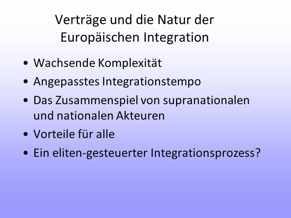 Verträge und die Natur der Europäischen Integration Wachsende Komplexität Angepasstes Integrationstempo Das Zusammenspiel von supranationalen und nationalen Akteuren Vorteile für alle Ein eliten-gesteuerter Integrationsprozess
