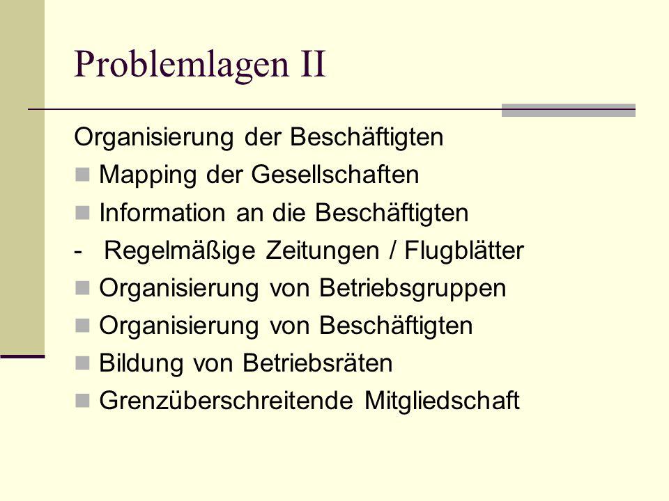 Problemlagen II Organisierung der Beschäftigten Mapping der Gesellschaften Information an die Beschäftigten - Regelmäßige Zeitungen / Flugblätter Organisierung von Betriebsgruppen Organisierung von Beschäftigten Bildung von Betriebsräten Grenzüberschreitende Mitgliedschaft