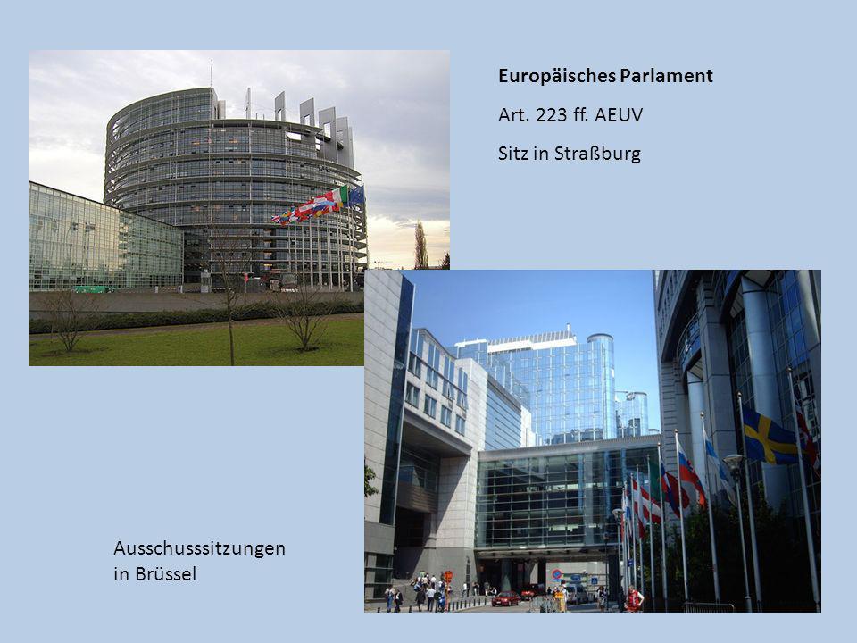 Europäisches Parlament Art. 223 ff. AEUV Sitz in Straßburg Ausschusssitzungen in Brüssel