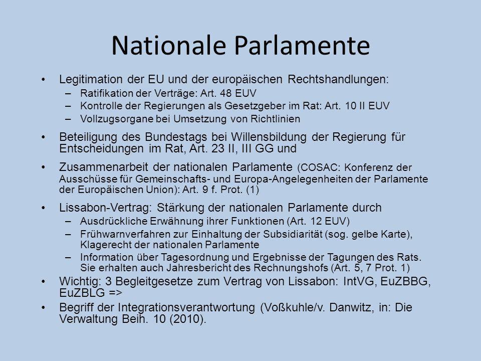 Nationale Parlamente Legitimation der EU und der europ ä ischen Rechtshandlungen: –Ratifikation der Vertr ä ge: Art. 48 EUV –Kontrolle der Regierungen