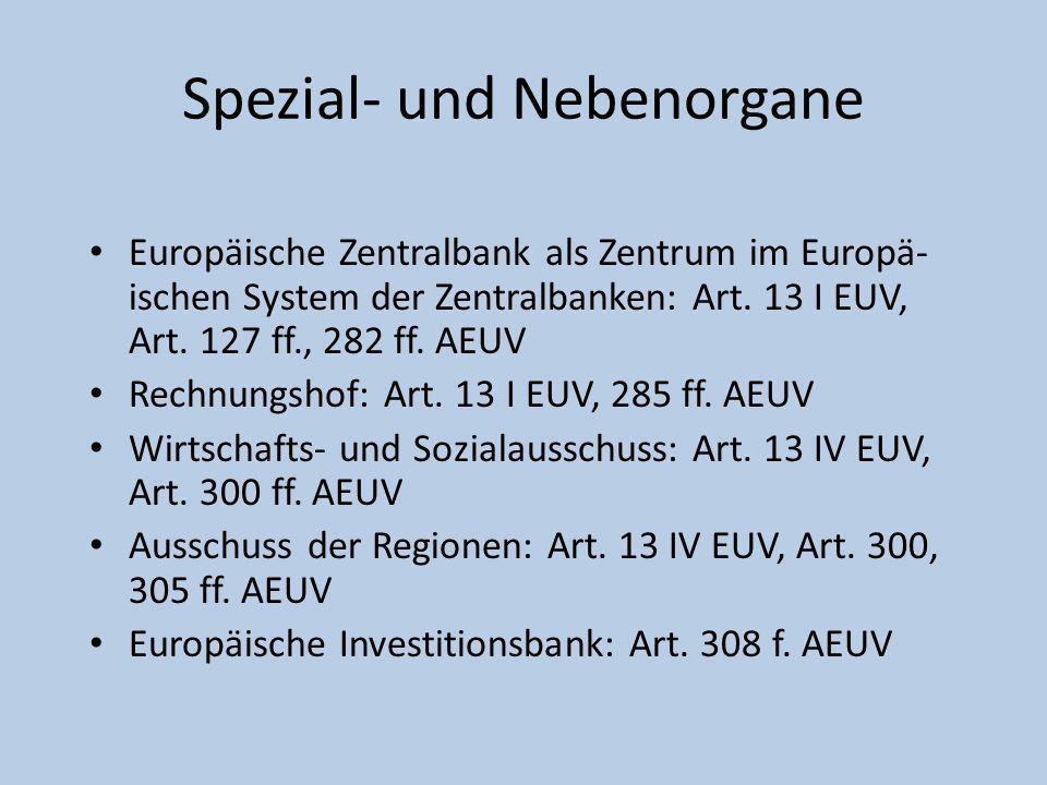 Spezial- und Nebenorgane Europäische Zentralbank als Zentrum im Europä- ischen System der Zentralbanken: Art. 13 I EUV, Art. 127 ff., 282 ff. AEUV Rec