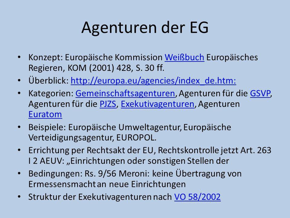 Agenturen der EG Konzept: Europäische Kommission Weißbuch Europäisches Regieren, KOM (2001) 428, S. 30 ff.Weißbuch Überblick: http://europa.eu/agencie